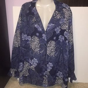 Sag Harbor blue white paisley top. Size 20W.